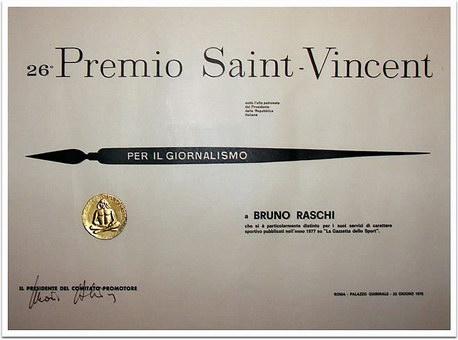 Il Premio Saint-Vincent vinto da Raschi nel 1978
